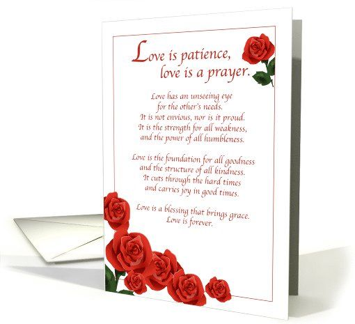 wedding congratulations with red roses religious love is patience card