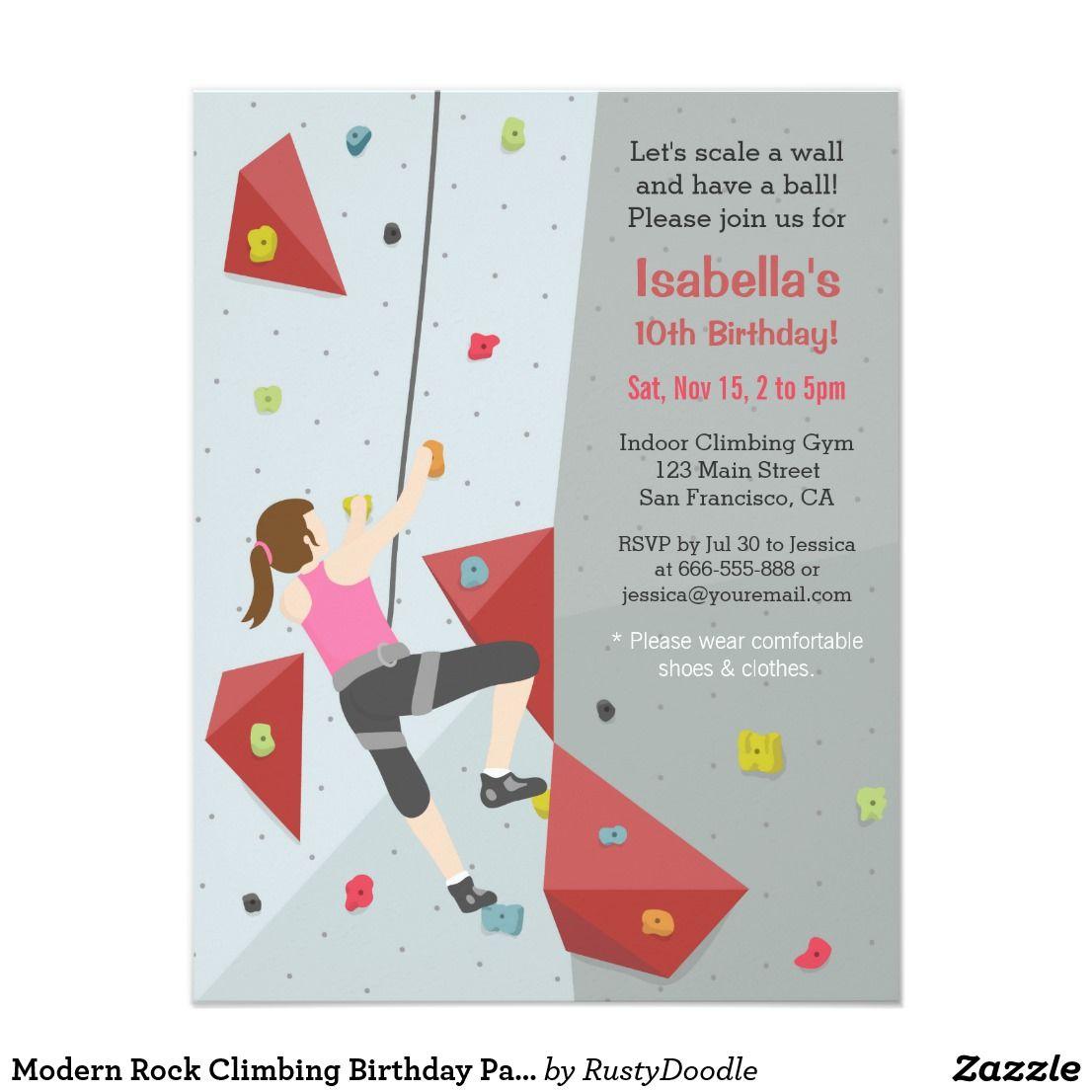 Modern Rock Climbing Birthday Party Invitations | Rock climbing and ...