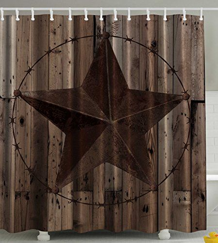 Nice Western Decor Southwestern Primitive Shower Curtain Barbwire Star In Wooden  Plank Home Decorations And Fashion Design Decor Bathroom Gifts For Man Cave  Men ...