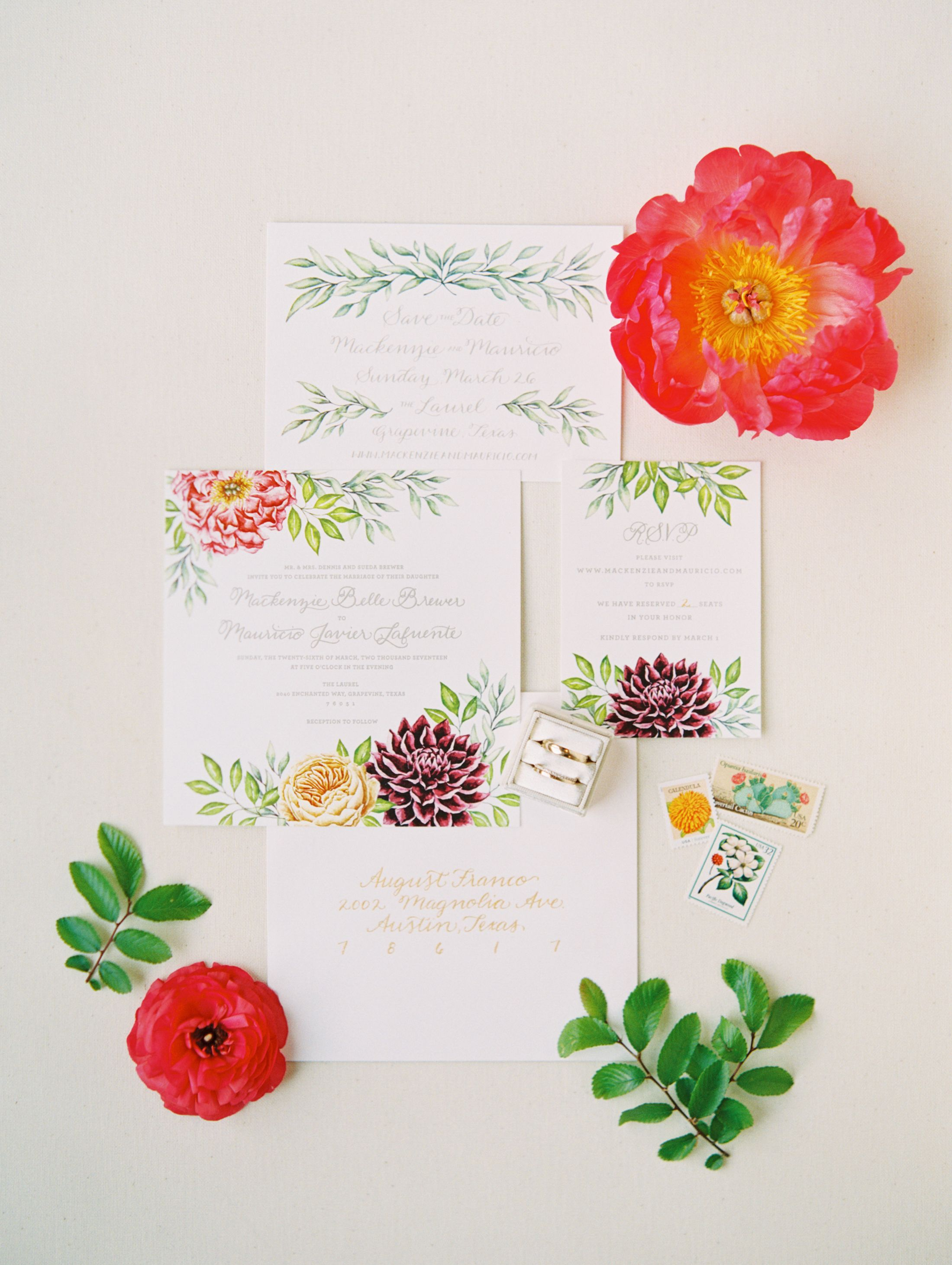 proper response time for wedding rsvp%0A Floral stationery suite   Photography  Allen Tsai