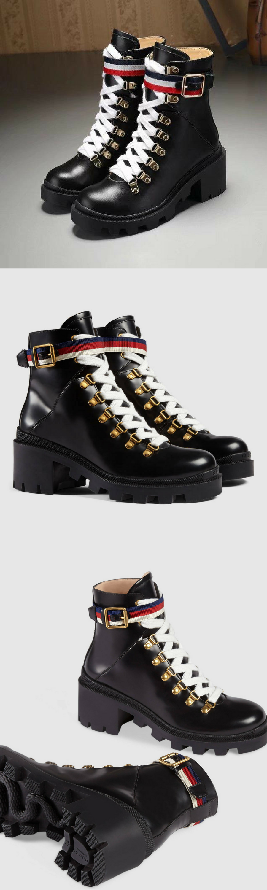 Gucci Leather Ankle Boot With Sylvie Web Anke Boots Leather Ankle Boots Street Style Shoes
