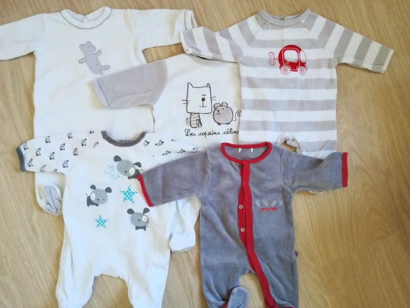168806ab83a8e Lot 5 pyjamas hiver garçon 0-3 mois