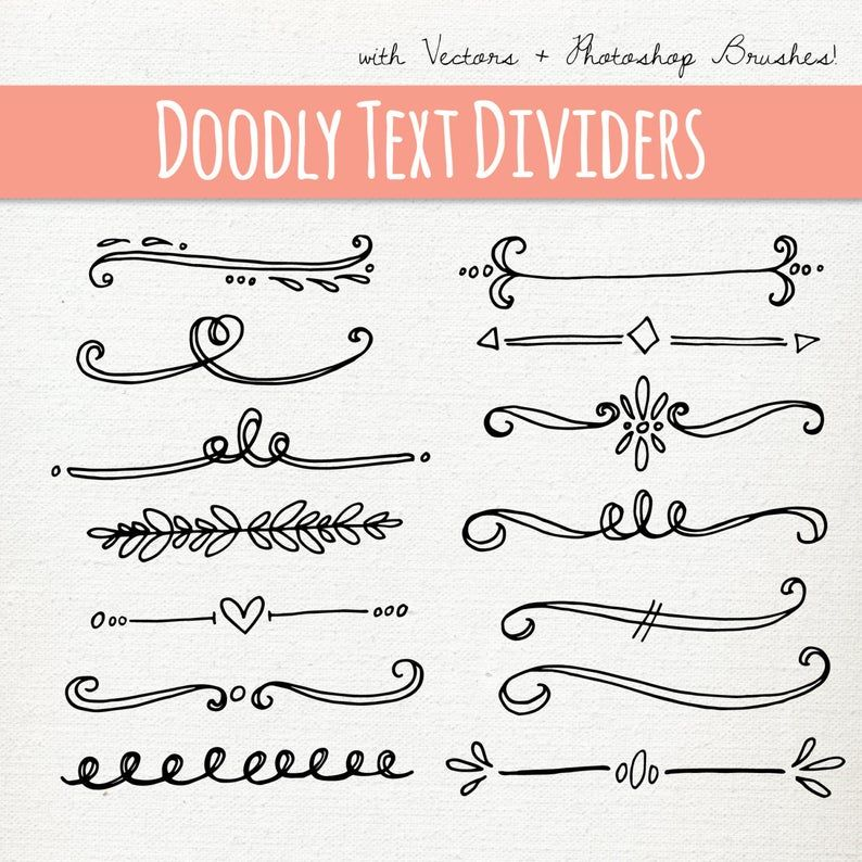 Doodly Text Divider Clip Art Vector Ps Brushes Png Files Etsy In 2020 Hand Lettering How To Draw Hands Bullet Journal