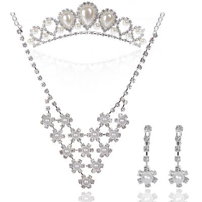 Princessly Bridal Jewelry Set with Beautiful Pearls and Rhinestones