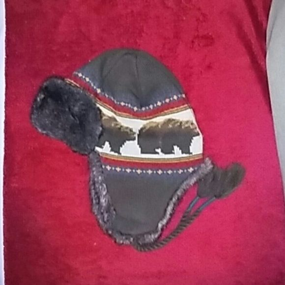 Faux fur winter hat with brown bears! Warm winter hat with ties. Worn once! Accessories Hats
