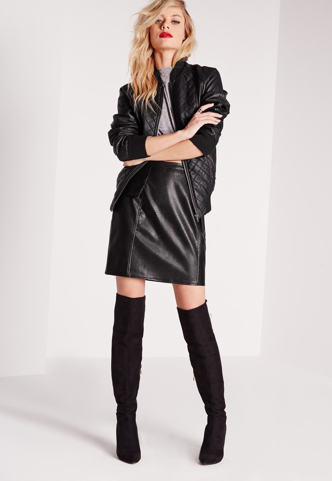 Missguided - Quilted Faux Leather Bomber Jacket Black