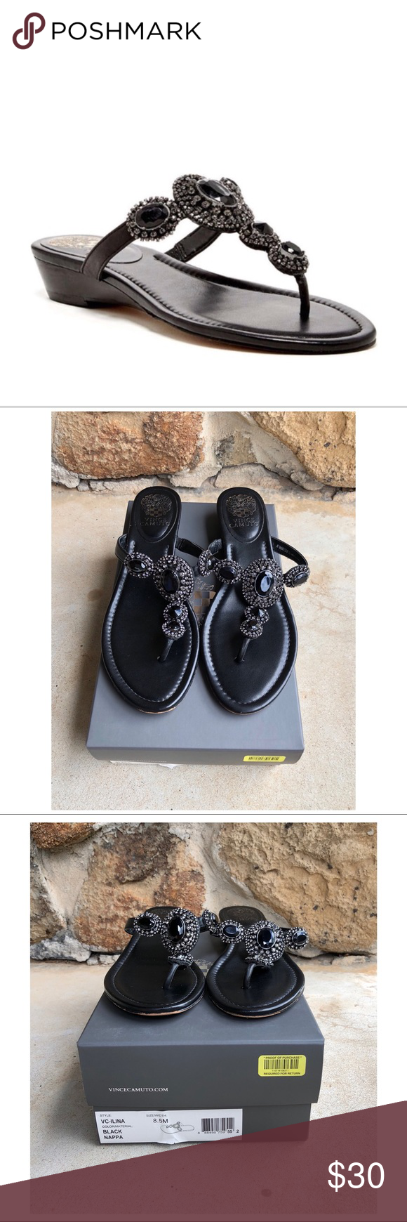 fcdafed82a6e Vince Camuto Ilina Wedge Sandals Napa Black 8.5M Product description Spend  your day in comfort