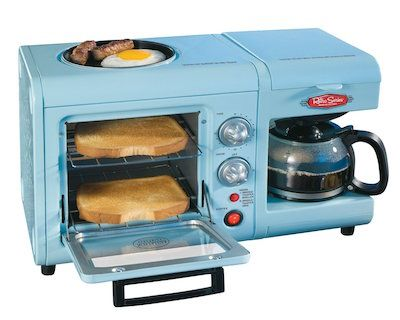 Nostalgia Electrics Retro Series 3-in-1 Breakfast Station Brew your coffee, fry your eggs, and toast your bread all in this convenient little breakfast station from the folks at Nostalgia Electrics. A powder blue paint job along with crank-style knobs give this piece an undeniably retro look.