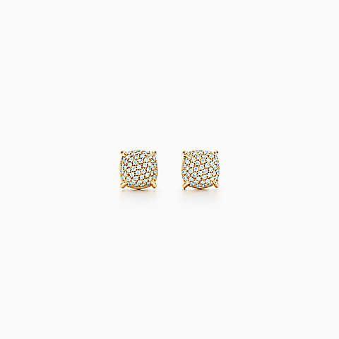 Brincos Sugar Stacks de Paloma Picasso em ouro 18k com diamantes.