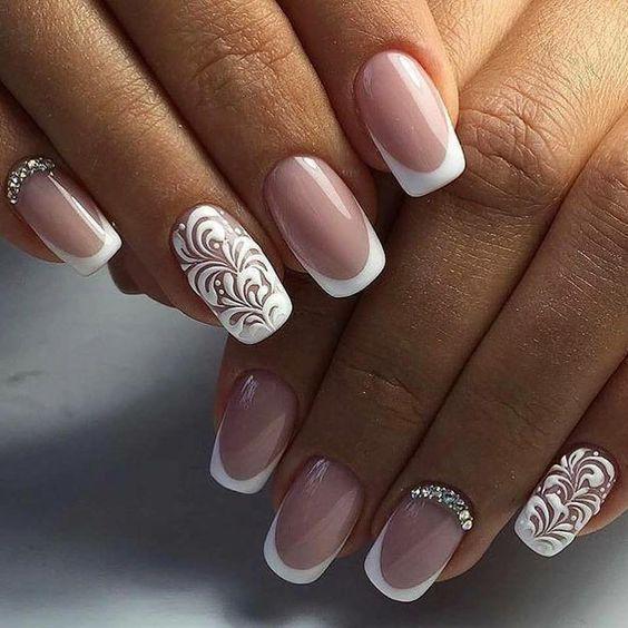 35 Glamorous Wedding Nail Art Ideas for 2018 - Best Bridal Nail Designs | Bridal  nail design, Wedding nails art and Bridal nails - 35 Glamorous Wedding Nail Art Ideas For 2018 - Best Bridal Nail