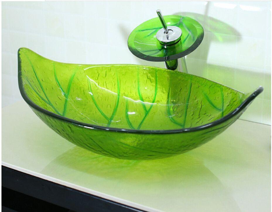 Leaf shaped glass handcraft bathroom sink wash basins | Basin, Sinks ...