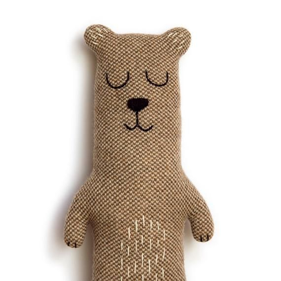 Brian the Bear Knitted Animal Plush Lambswool Soft Toy - Made to order #animauxentissu