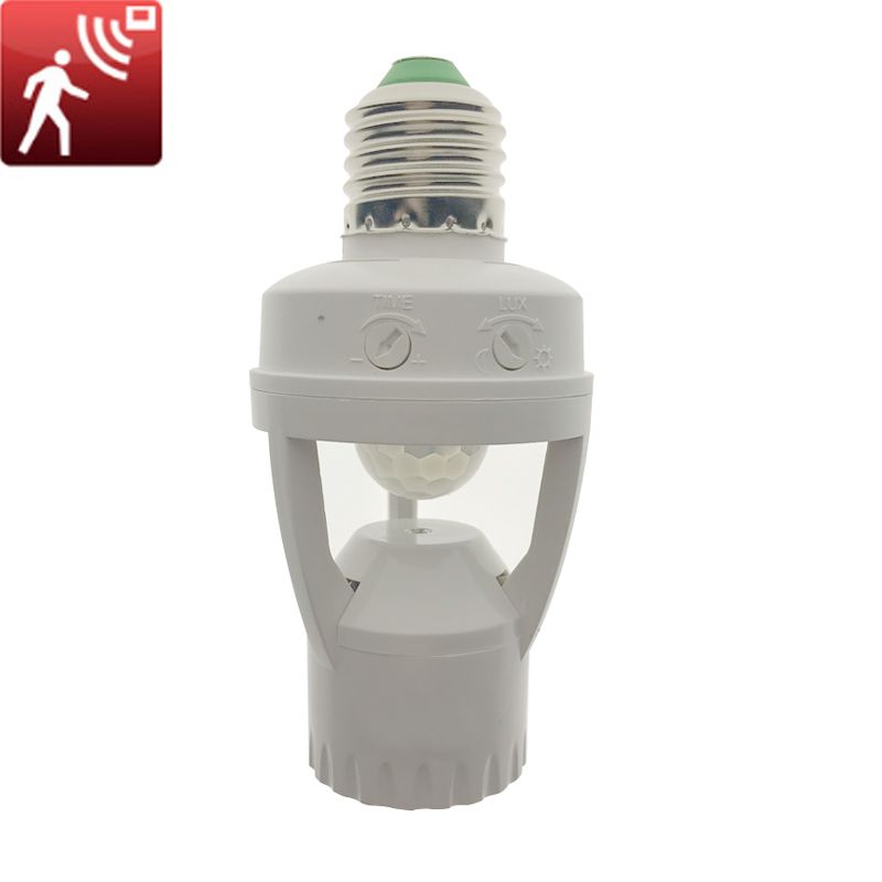 1pcs Ac110v 220v Pir Infrared Motion Sensor E27 Led Light Lamp Base Holder Bulb Socket 360 Degrees Detection Light Sensor Switch Plug Socket Light Accessories