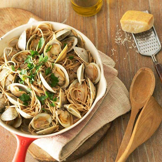 Recipes - Sensational Homemade Spaghetti & Sauce -  You can't beat a sophisticated spaghetti dinner filled with fresh clams and a decadent white wine sauce. Crushed red pepper adds a hint of spice to every bite./You can't beat a sophisticated spaghetti dinner filled with fresh clams and a decadent white wine sauce. Crushed red pepper adds a hint...