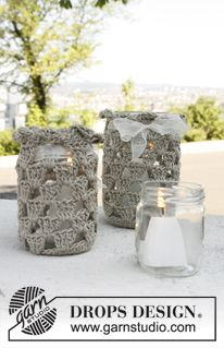 Crochet Glass Jar Covers Many In Any Color S I Have Some Glass Jars If You Just Want To Send The C Crochet Jar Covers Drops Design Diy Crochet And Knitting