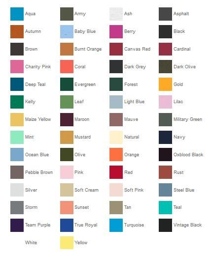Bella Canvas 3001 Color Chart from NYFifth