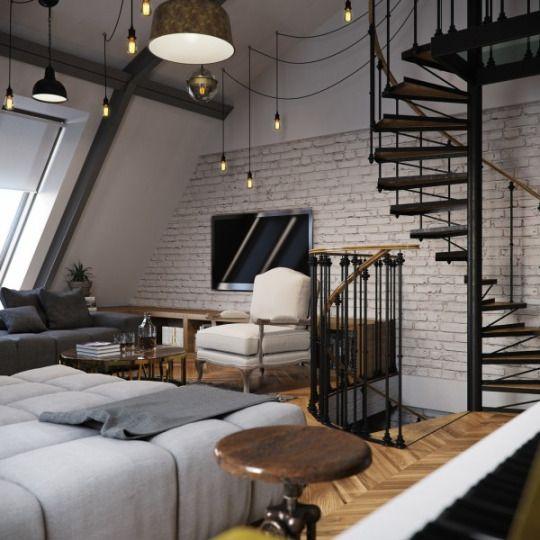 Salon loft esprit industriel, escalier métal, suspensions ...