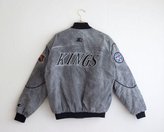 Vintage La Kings Silver Gray Bomber Jacket Metal Patched Puffy Coat Ice Hockey Jacket Size Mediu Vintage Clothes Shop Etsy Vintage Clothes Grey Bomber Jacket
