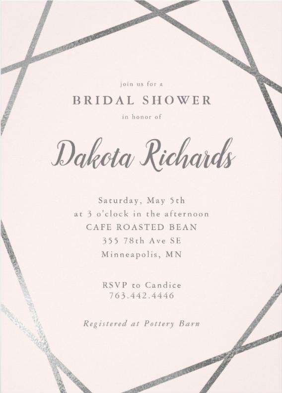 Elegant Pink Silver Geometric Bridal Shower Invitation
