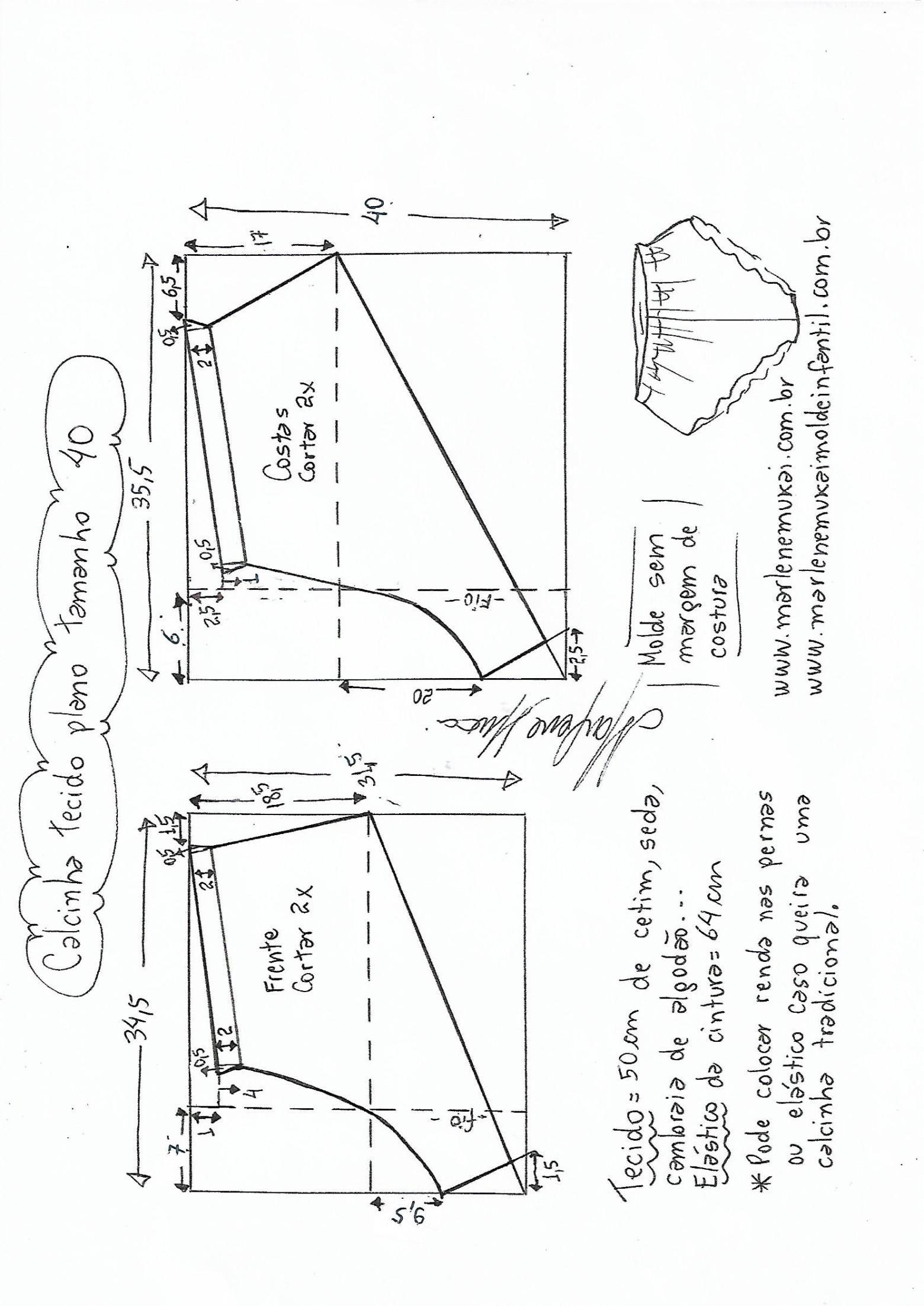 Calcinha para tecido plano | Patrones | Sewing, Sewing pants y ...