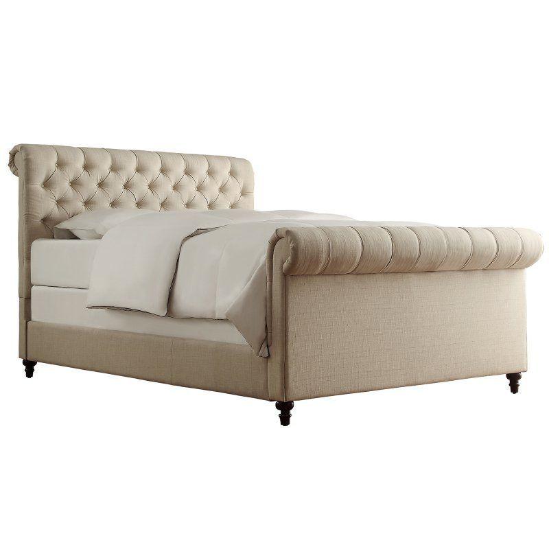 Weston Home Ellesmere Tufted Upholstered Sleigh Bed Beige Linen - E208BK-1BL(3A)[BED]