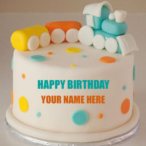 Write Name on Cute Baby Train Birthday Cake For Baby HBD Cake