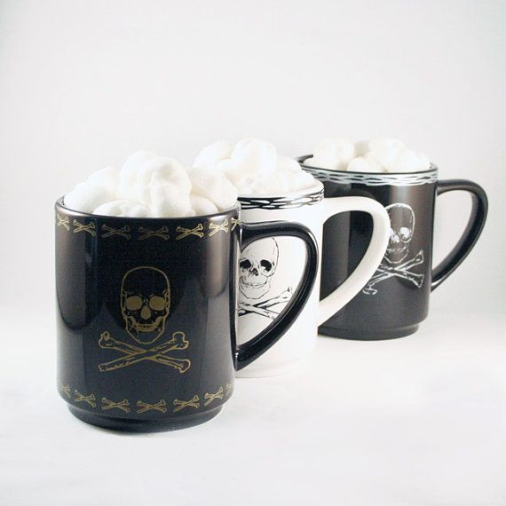 Sugar Cube Skulls & Skull and Crossbones Mug   Gift by dembones, $27.00
