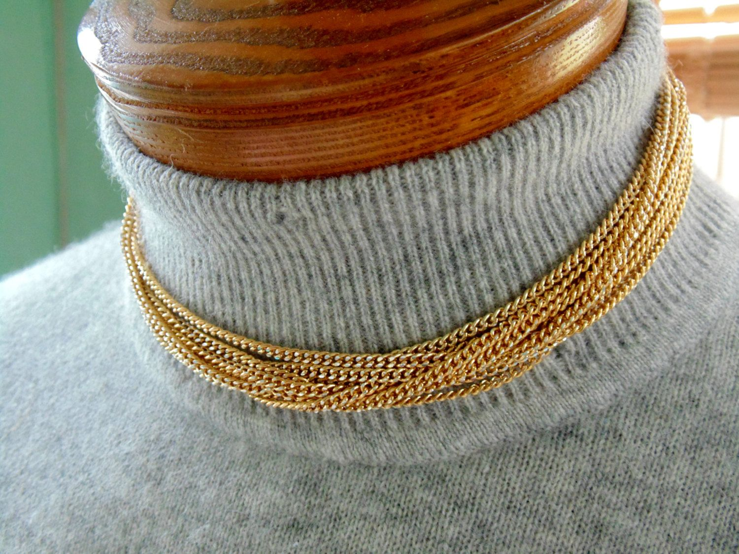 Gold ELOXAL CHOKER NECKLACE 1950s 1960s Les Bernard 9 multistrand Gold Tone Textured Chain by OurVintageWay on Etsy