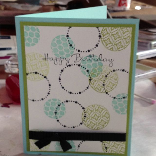 Stampin up-Circle Circus...would pop up sentiment ww on black, nice.