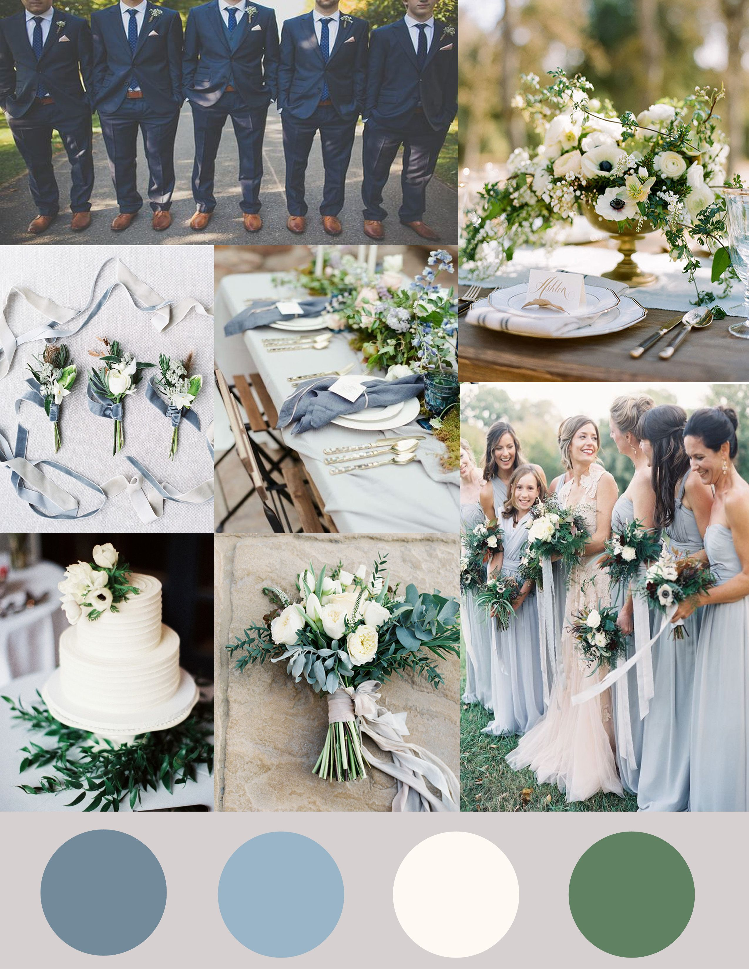 Shades of Dusty Blue, Ivory and Greenery Wedding
