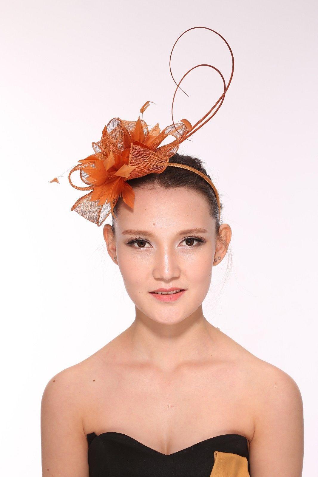 2a92a91592c78 Kentucky Derby Wedding Feather Sinamay Headband Fascinator Hat Orange