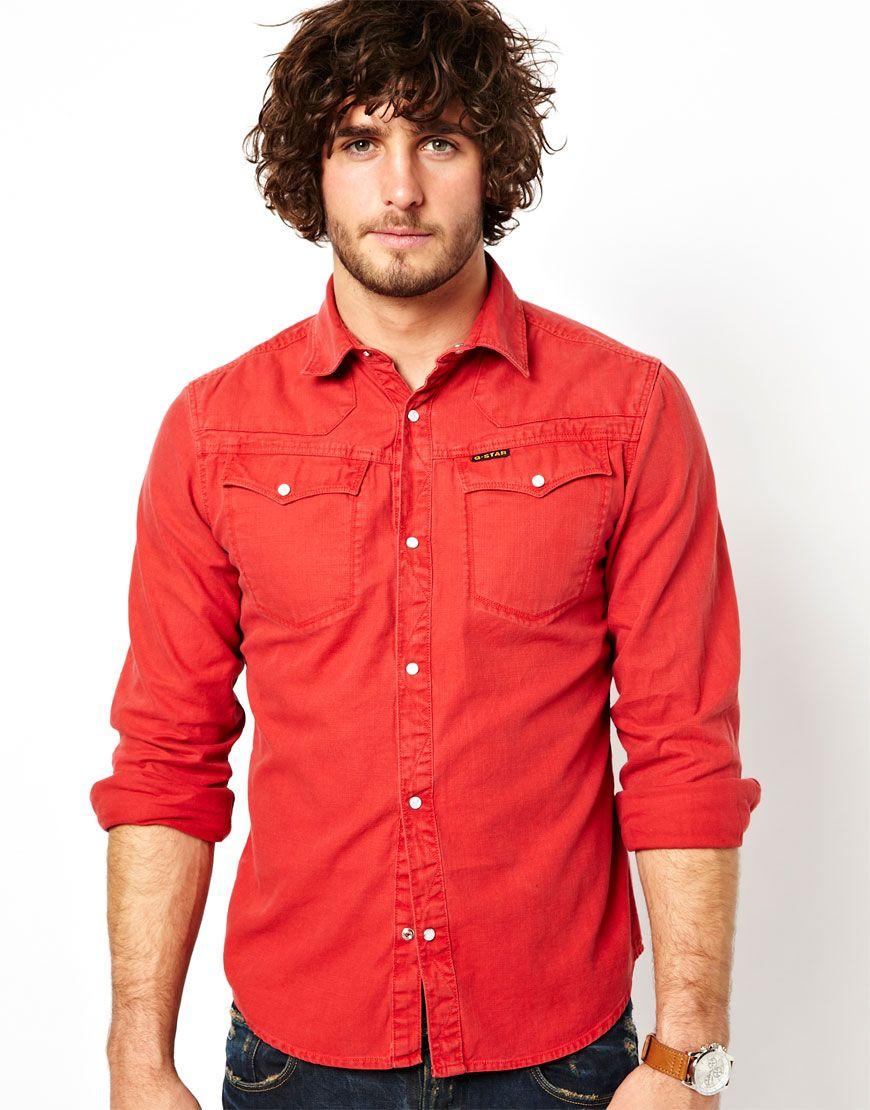 man in red | Red | Pinterest | Shirts, Search and Denim shirts