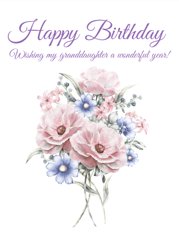 Pretty Flower Happy Birthday Card for Granddaughter Wish your