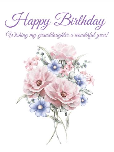 Pretty Flower Happy Birthday Card For Granddaughter Birthday Greeting Cards By Davia Happy Birthday Wishes Cards Grandaughter Birthday Wishes Beautiful Birthday Cards