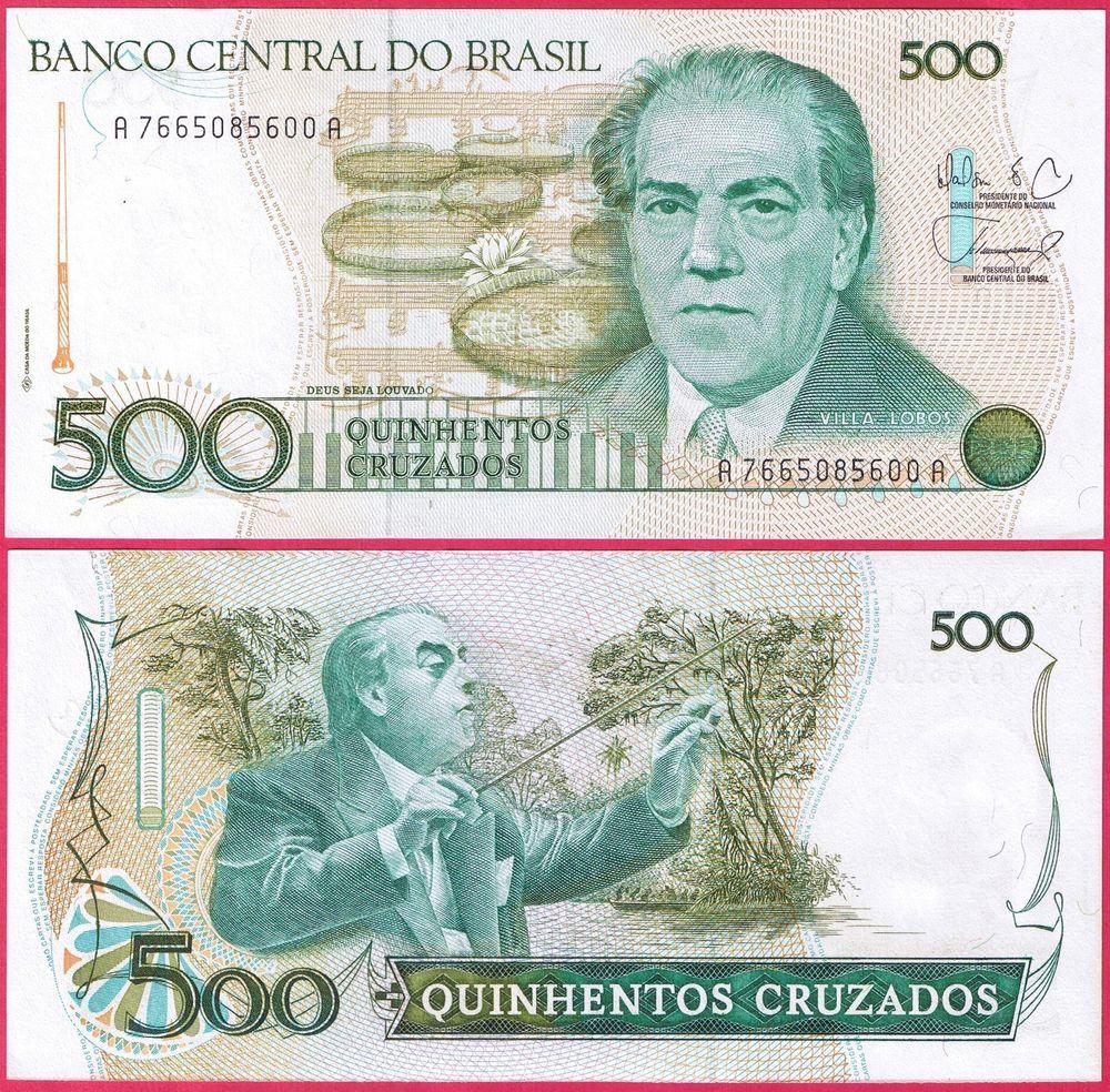 Brazil 500 Cruzados 1988 Banknote P212 Unc Papel Moneda
