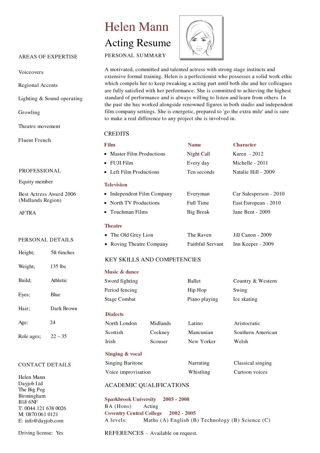 how to make a professional acting resume