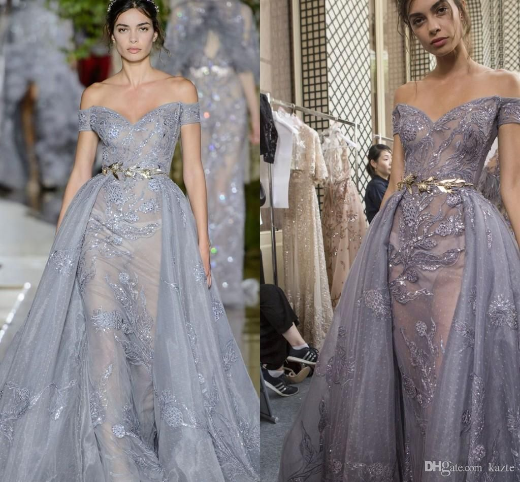 zuhair murad evening dresses with overskirt dust gray lace