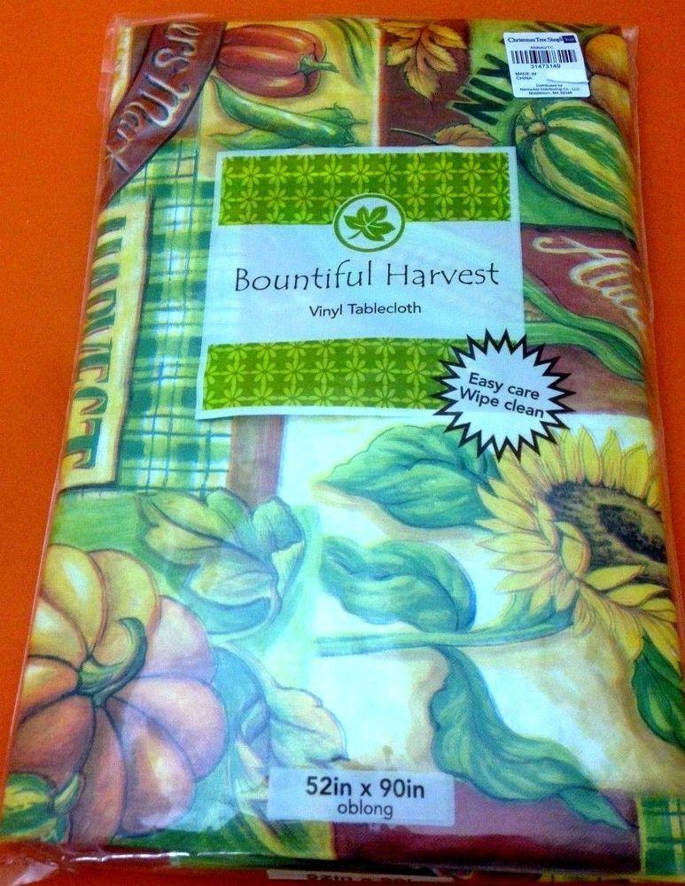 Autumn Sunflowers Pumpkins Vinyl Tablecloth Flannel