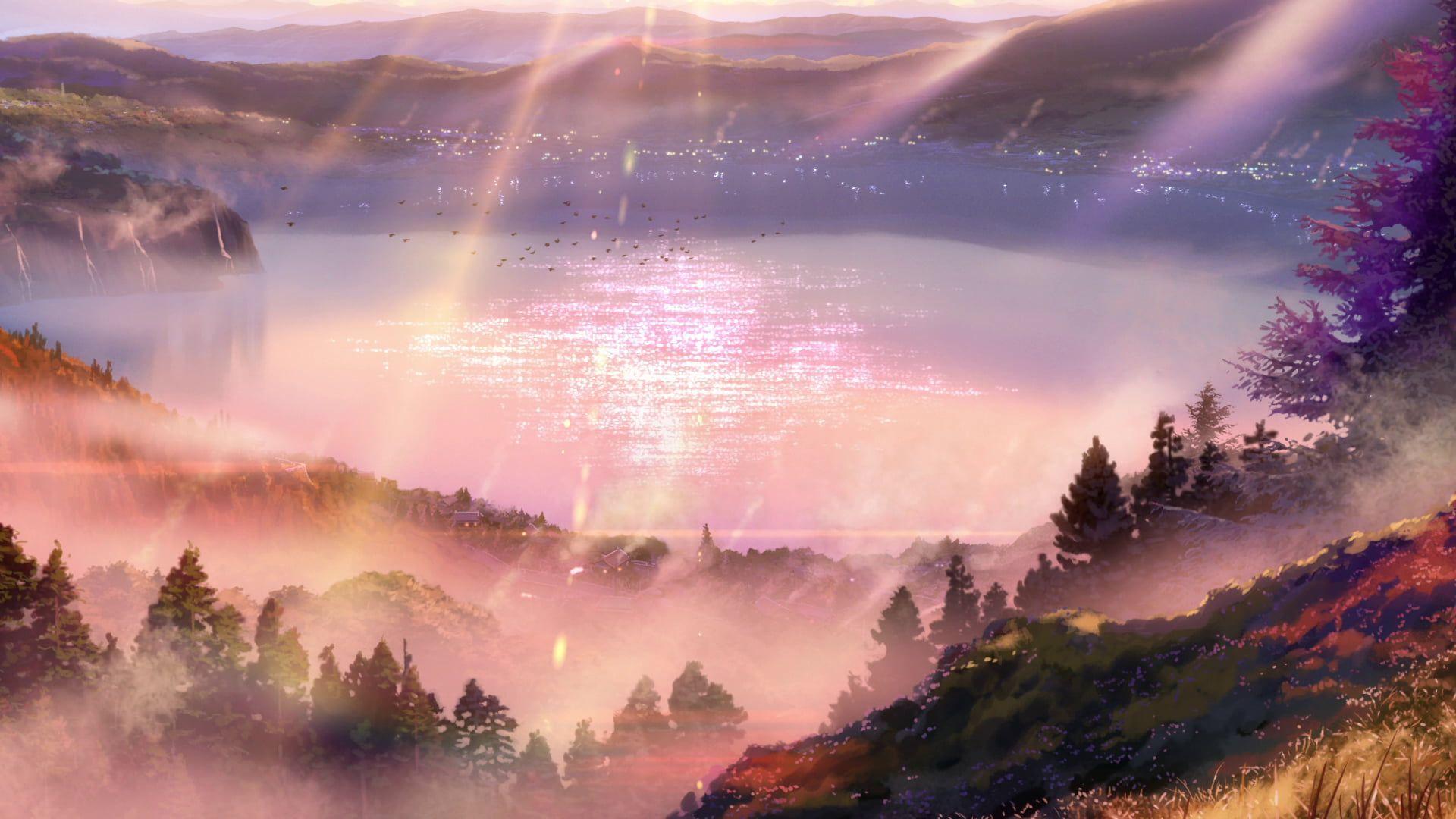 Lake And Trees Kimi No Na Wa Your Name Landscape Mountains Realistic Field Mist Water Lake 1080p Wallpaper In 2020 Your Name Anime Anime Scenery Kimi No Na Wa