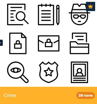 28 Premium Vector Icons Of Crime Designed By Deemakdaksina Badge Icon Icon Crime