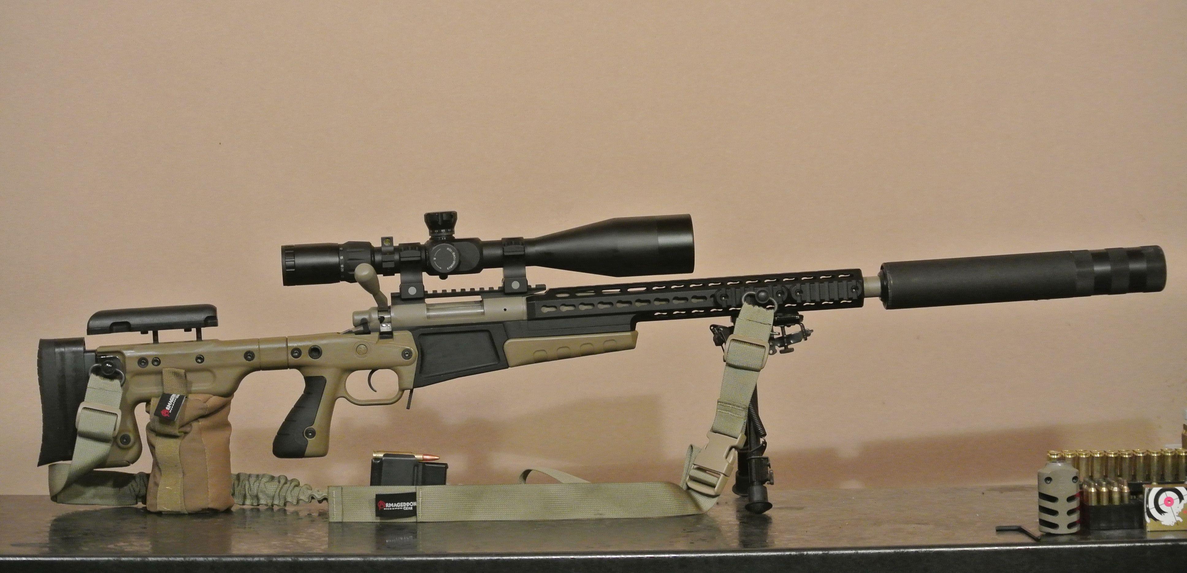 Suppressed Remington 700 Wearing tan dark earth