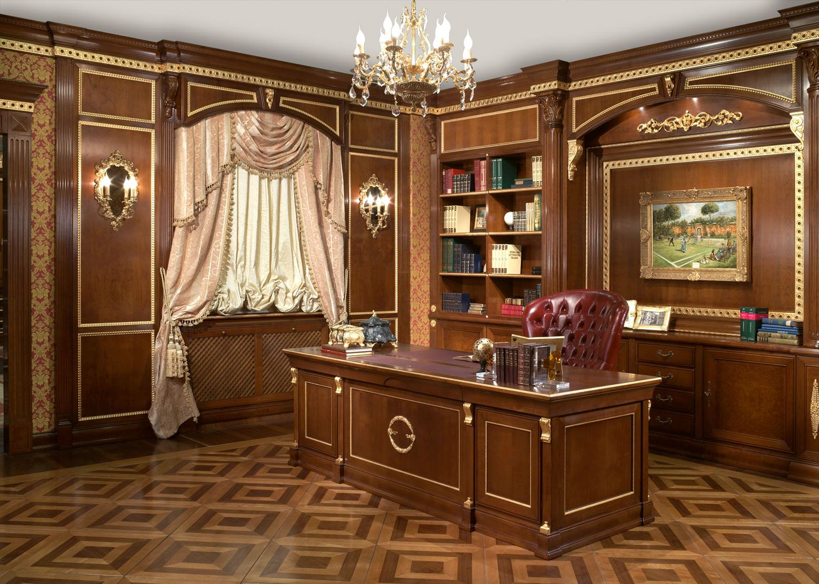 The Office Blends Luxury Classic Home Office Remodeling Design Ideas
