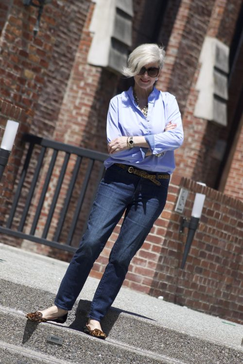 Beth of Style at a certain age stuns in her denim on denim look. Shop her Slim Ankle jeans.