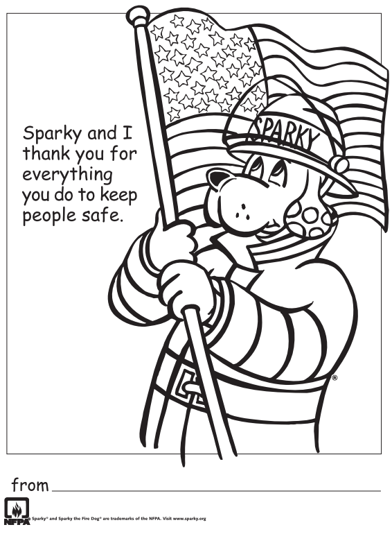 Free Printable Thank You Firefighters Coloring Sheet Fire Safety Free Coloring Pages Fire Safety