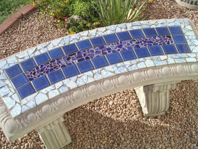 Cool Mosaic Bench Kinda Looks Like A Lap Pool Mosaic Garden Art Mosaic Garden Mosaic Pots