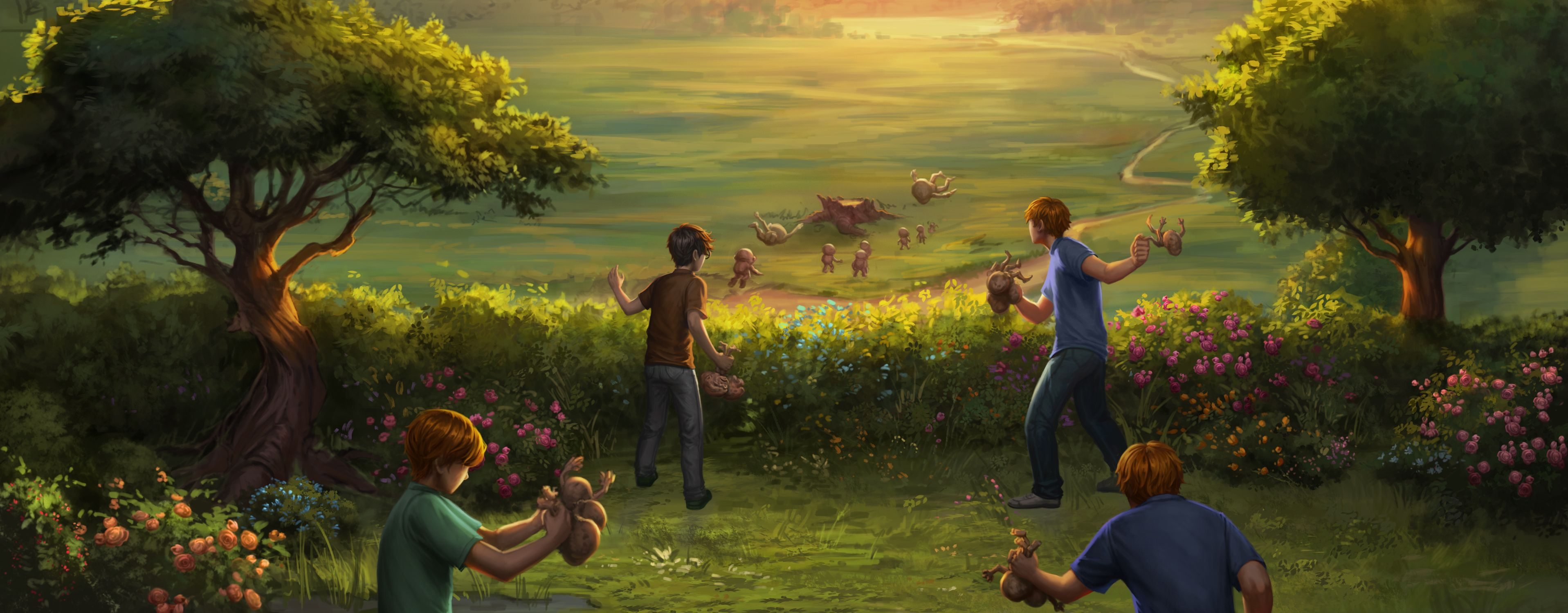 Harry helps Ron, Fred and George de-gnome the garden of The Burrow ...