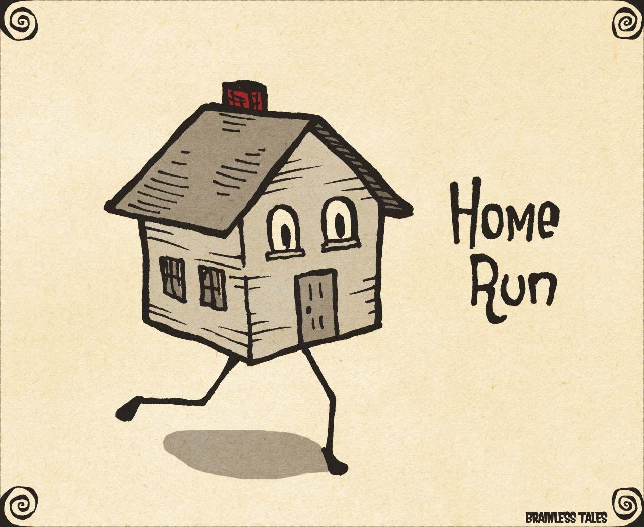 Home Run Visual Pun by Brainless Tales | Puns | Funny puns ...