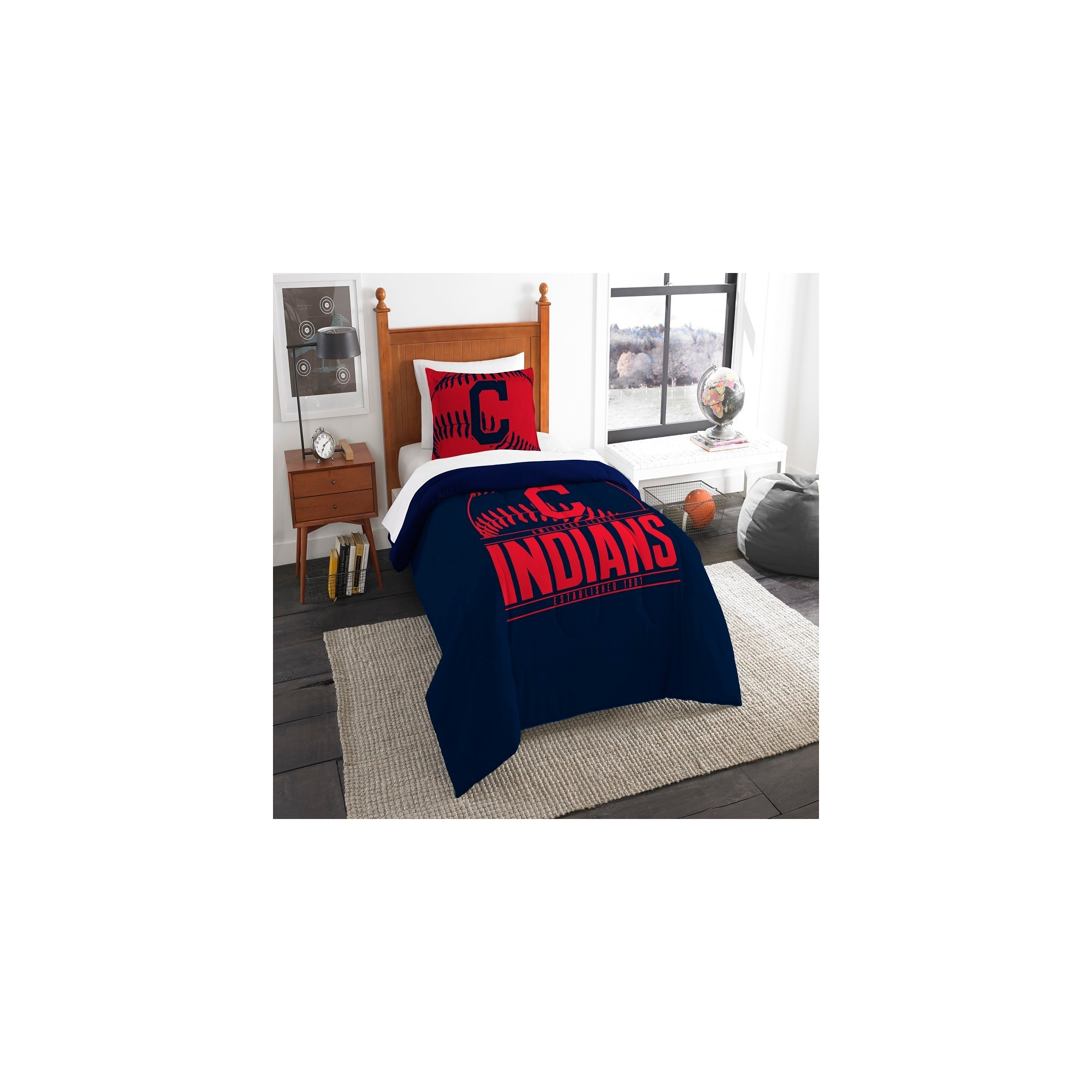 mlb cleveland indians northwest grandslam twin comforter set twin