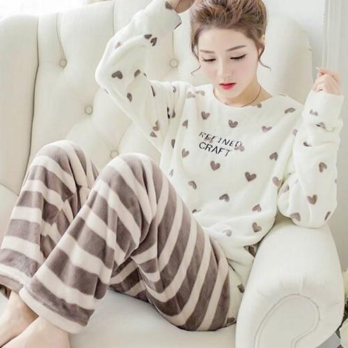 2018 Autumn Winter Women Pajamas Set Sleep Jacket Pant Sleepwear Warm  Nightgown Female Cartoon Bear Animal Pants Sleepwear 825c54664