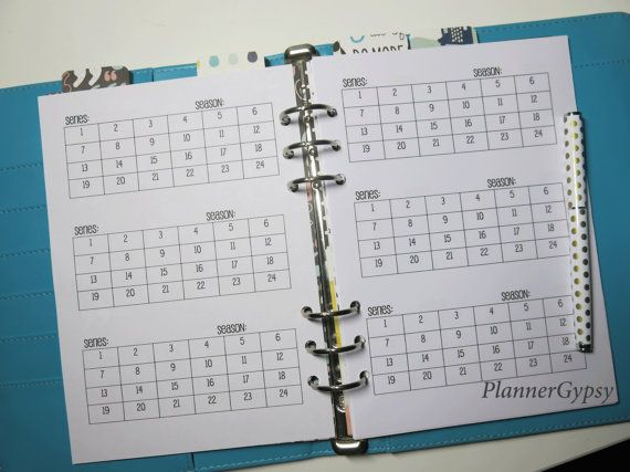 TV series and episode tracker printable planner insert - A5